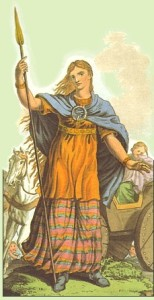 A colored drawing of boudica. She wears a plaid dress, an orange apron and a blue cloak She has long strawberry blonde hair, slightly waving, and she holds a spear aloft.
