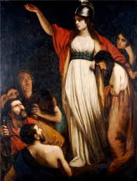 A painting of Boudica. She wears a white gown and red robe, and leads men into  battle.