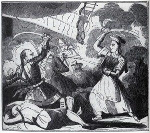 A black and white 18th century drawing of Ching Shih fighting another Chinese pirate with a saber.
