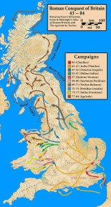 A map of England, showing the spread of Roman control