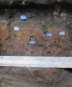 A picture of soil from an excavation site. A red streak shows the layer where Boudica left her mark. A few blue and white tabs indicate spots of interest.