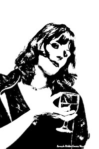 A stylized picture of a woman holding a wine glass.