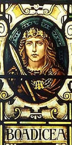 A stained glass image of a woman holding a spear. The name below her picture says Boadicea.