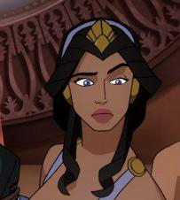 A cartoon image of an olive-skinned woman with long dark hair. She wears a loose purple chiton and gold circlet. She is looking off screen with a vague expression of concern.