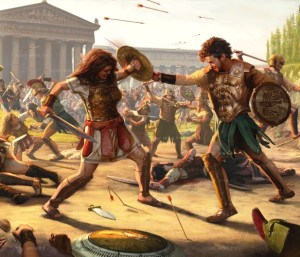 A woman in light battle armor fights a man in a breast plate. They both have shields and short swords, the Parthenon sits behind them. Arrows fly through the air, and the battlefield is littered with those still fighting, as well as the bodies of the dead.