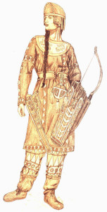 A colored drawing of a Scythian woman. She wears loose leather leggings under another loose, long-sleeved tunic. She carries a bow and quiver, which, along with her clothing, has been intricately painted. She wears a peaked cap, and has long brown hair which falls to her waist in a single braid.