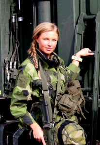A modern female Swedish soldier. Ulrika would be proud!