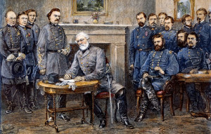 Lee's surrender to General Grant at Appomattox Courthouse; based on a woodcut by Alfred R. Waud.