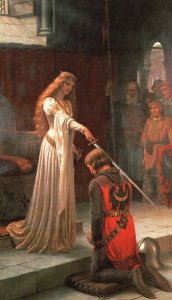 The Accolade by Edmund Leighton; a work which channels the spirit of the Court of Love.