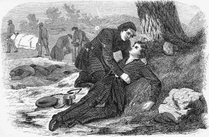 Sarah, comforting another female soldier as she succumbs to her wounds.
